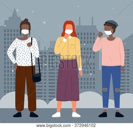 Group Of Young Multinational People Wearing Medical Masks At City Background. Concept Of Viral Epide