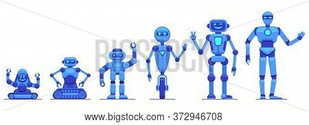Robots Evolution. Robotics Technology Progress, Futuristic Mechanical Robot Characters, Robots Tech