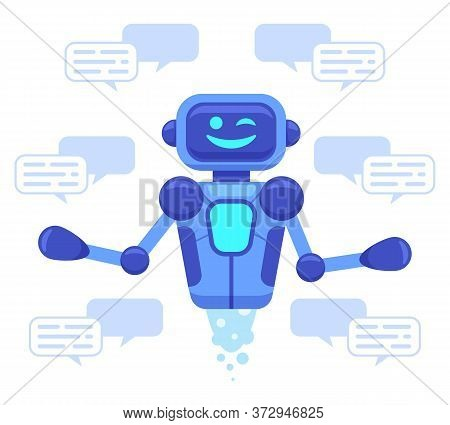 Chat Bot Support. Chat Bot Assistant Online Conversation, Robots Support Chatting, Virtual Assistant