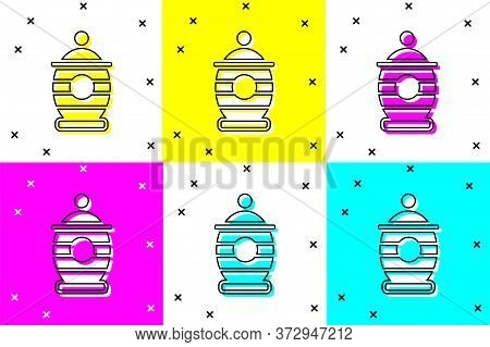Set Funeral Urn Icon Isolated On Color Background. Cremation And Burial Containers, Columbarium Vase