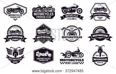Motorbike Badges. Retro Motorcycle Bike Club Emblems, Racing And Motorbike Custom Stamp, Motorcycle