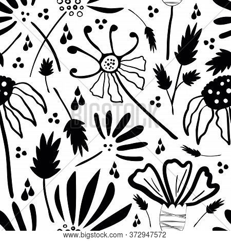 Inky Wild Meadow Flowers Seamless Vector Pattern Background. Hand Drawn Line Art Black And White Den