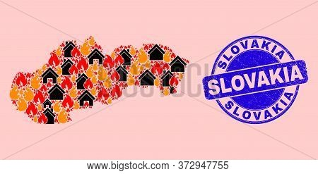 Fire Hazard And Buildings Combination Slovakia Map And Slovakia Dirty Stamp Seal. Vector Collage Slo