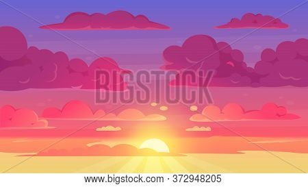 Cartoon Sunset Sky. Gradient Violet And Yellow Sky Clouds Landscape, Evening Sunset Heaven Panorama