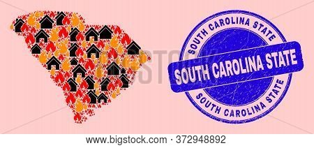 Fire And Realty Mosaic South Carolina State Map And South Carolina State Grunge Stamp. Vector Collag