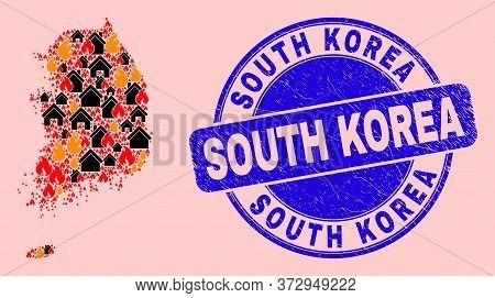 Fire And Buildings Mosaic South Korea Map And South Korea Unclean Seal. Vector Collage South Korea M