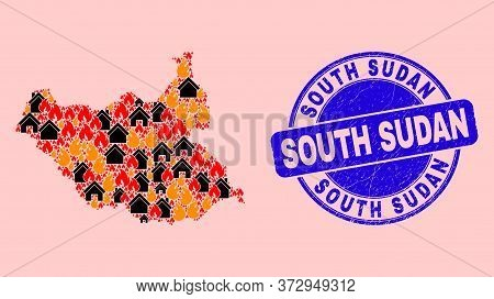 Fire Disaster And Buildings Mosaic South Sudan Map And South Sudan Textured Stamp Imitation. Vector