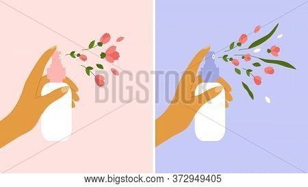 Flower Aerosol, Perfume, Cosmetics Concept. Female Hand Holding Dispenser And Spraying With Petals,