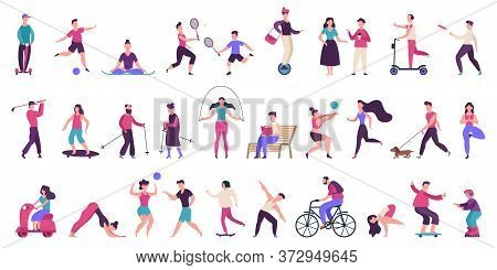 People Outdoor Activities. Active, Healthy Lifestyle, Jogging, Running, Roller Skates, Bicycle And R