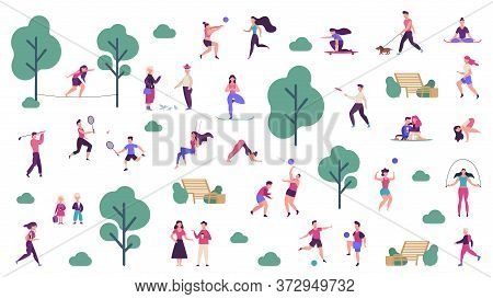 Active Outdoor Lifestyle. People Healthy Lifestyle And Park Sport Activities, Outdoor Games, Jogging
