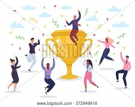 Success Celebrating Team. Jumping Winners Team Celebrating Victory, Golden Cup Wins Award, Happy Suc