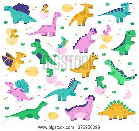 Hand Drawn Dinosaurs. Cute Dino Baby In Eggs, Jurassic Era Dinosaur Characters, Diplodocus And Tyran