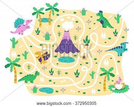 Dinosaurs Kids Maze. Dino Mom Find Eggs Childrens Game, Cute Doodle Dino Educational Jurassic Park M