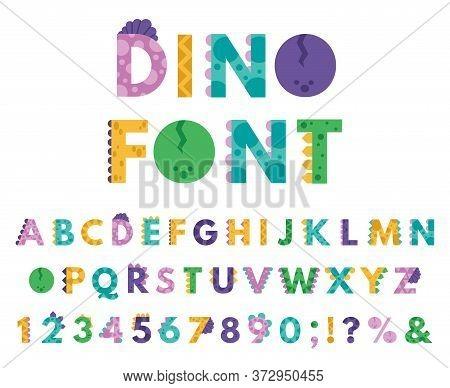 Dino Hand Drawn Alphabet. Cartoon Cute Abc Letters Dinosaurs For Kids, Comic Dino English Alphabet I