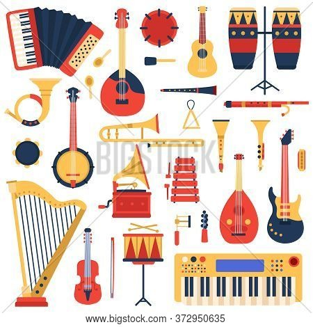 Musical Instruments. Cartoon Doodle Music Guitar, Drums, Piano Synthesizer And Harp, Jazz Band Music