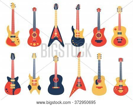 Musical Guitar. Acoustic, Electric Rock And Jazz Guitars, Retro Strings Guitars, Music Band Instrume