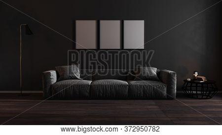 Three Blank Poster Frames Mock Up In Luxury Dark Living Room Interior With Gray Sofa, Modern Interio
