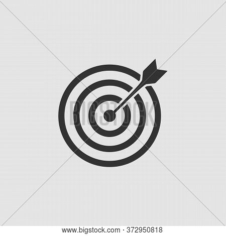 Target Bullseye Arrow Icon Flat. Black Pictogram On Grey Background. Vector Illustration Symbol