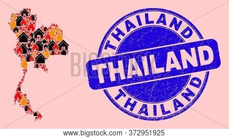 Fire Disaster And Buildings Collage Thailand Map And Thailand Corroded Stamp Imitation. Vector Colla