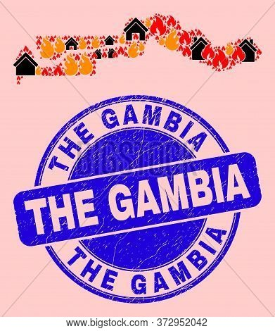 Fire Hazard And Realty Collage The Gambia Map And The Gambia Grunge Stamp. Vector Mosaic The Gambia