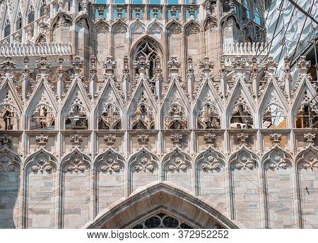 Duomo Of Milan, Milan Cathedral, Italy. The Main Milan Landmark. Gothic Architecture.