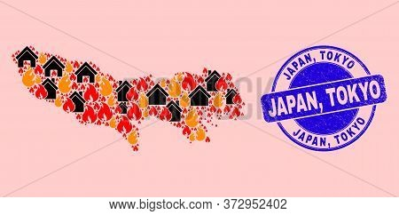 Fire And Houses Combination Tokyo Prefecture Map And Japan, Tokyo Scratched Seal. Vector Collage Tok