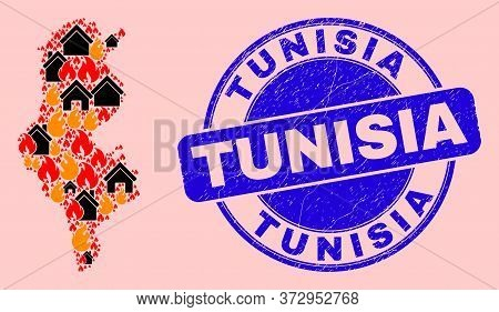 Fire Disaster And Houses Collage Tunisia Map And Tunisia Rubber Watermark. Vector Collage Tunisia Ma