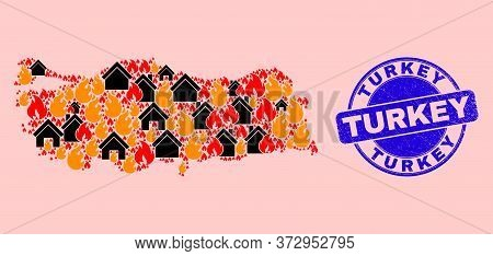 Fire Hazard And Houses Collage Turkey Map And Turkey Corroded Stamp Imitation. Vector Mosaic Turkey