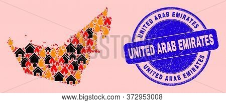 Fire And Buildings Mosaic United Arab Emirates Map And United Arab Emirates Dirty Watermark. Vector