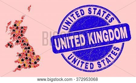 Fire And Realty Collage United Kingdom Map And United States United Kingdom Grunge Stamp. Vector Col