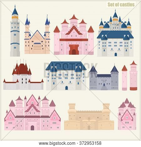 Set Of Various Vector Castles. On A Light Background. Historic Castles
