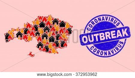 Fire And Realty Composition Vizcaya Province Map And Coronavirus Outbreak Grunge Stamp Print. Vector