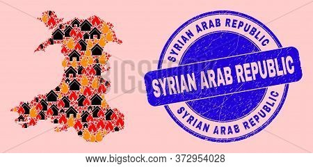Fire Hazard And Buildings Collage Wales Map And Syrian Arab Republic Corroded Stamp Seal. Vector Col