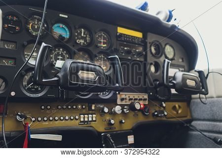 Cockpit Helicopter - Instruments Panel. Interior Of Helicopter Control Dashboard, Heli On The Ground