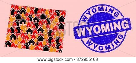 Flame And Houses Collage Wyoming State Map And Wyoming Textured Seal. Vector Collage Wyoming State M