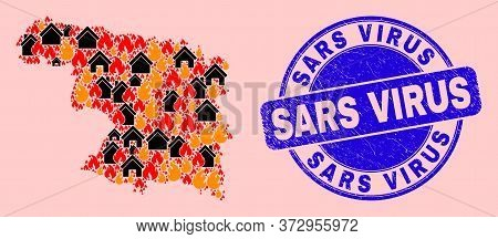 Fire Disaster And Homes Collage Zamora Province Map And Sars Virus Unclean Watermark. Vector Collage