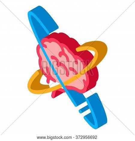 Brain In Center Of Atom Icon Vector. Isometric Brain In Center Of Atom Sign. Color Isolated Symbol I