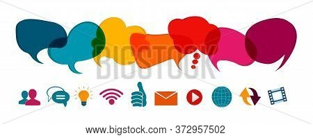Social Network Concept. Speech Bubble And Online Communication Symbols. Communication Dialogue And S