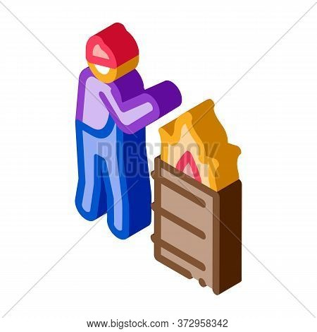 Homeless Warming Flame Icon Vector. Isometric Homeless Warming Flame Sign. Color Isolated Symbol Ill