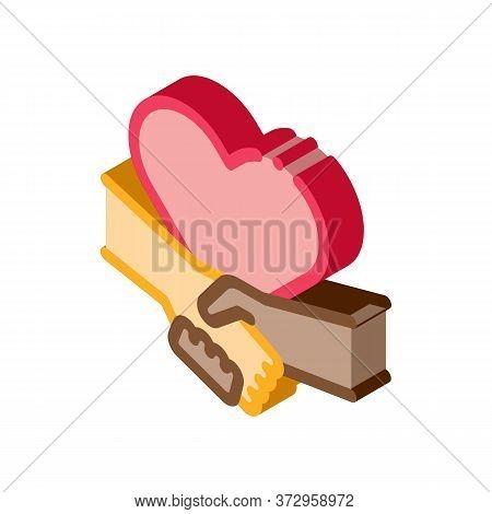 Multiracial Handshake Heart Icon Vector. Isometric Multiracial Handshake Heart Sign. Color Isolated