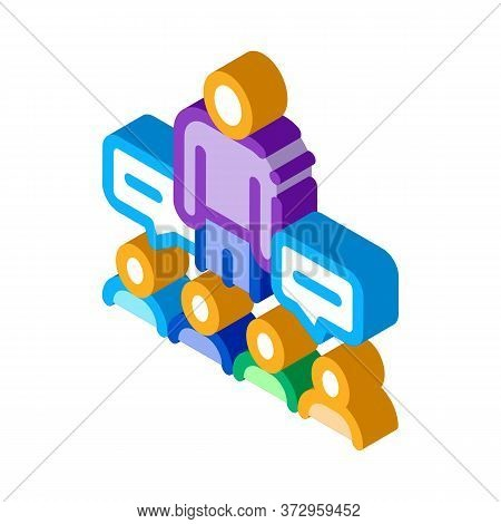 Lector Discuss With Audience Icon Vector. Isometric Lector Discuss With Audience Sign. Color Isolate