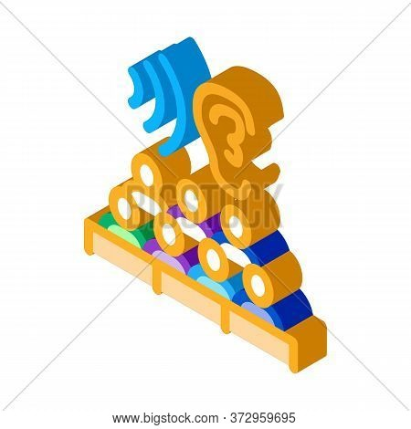 Audience Listening Seminar Icon Vector. Isometric Audience Listening Seminar Sign. Color Isolated Sy