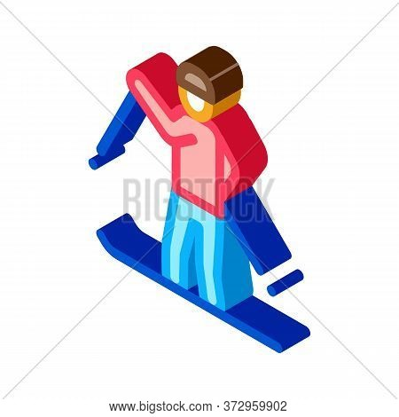 Skier Skiing Icon Vector. Isometric Skier Skiing Sign. Color Isolated Symbol Illustration