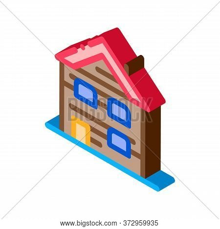 Ski Resort Cabin Building Icon Vector. Isometric Ski Resort Cabin Building Sign. Color Isolated Symb