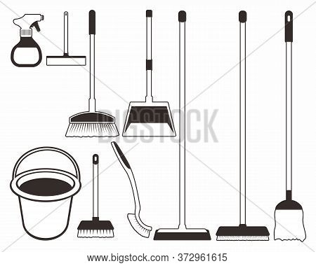 Cleaning And Disinfection Tools And Products. Clean Floor, Vector Sanitary And Hygiene Products, Bro