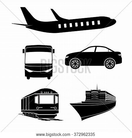Public Transport Set. Passenger Vehicle Silhouettes. Isolated Public Train, Ambulance, Police Car Au