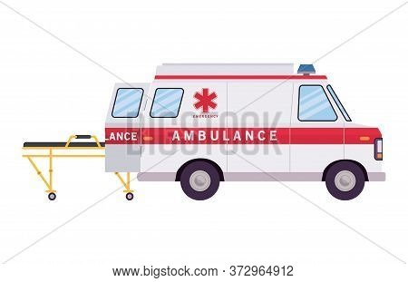 Ambulance Paramedic Car Side View And Stretcher Design, Life Guard Emergency And Rescue Theme Vector