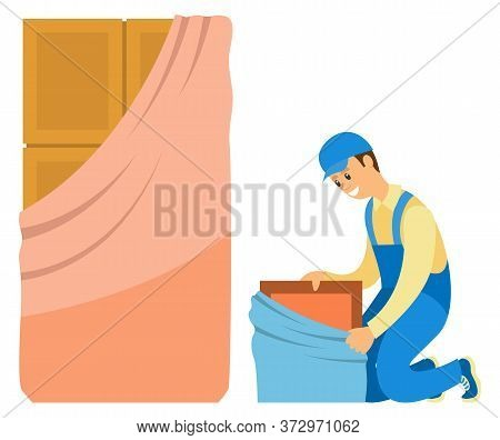 Repairman Installing Door Or Locker, Furniture Banners. Smiling Workman In Uniform, Repair Indoor, W
