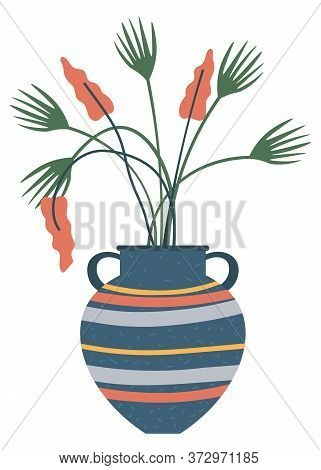 Flowerpot With Blooming Plant, Isolated Striped Vase With Handles. Vector Artificial Leaves And Flow
