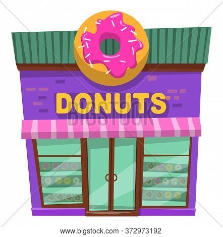 Donuts Restaurant Construction In Purple Color With Panoramic Windows. Bakery Shop Building With Don